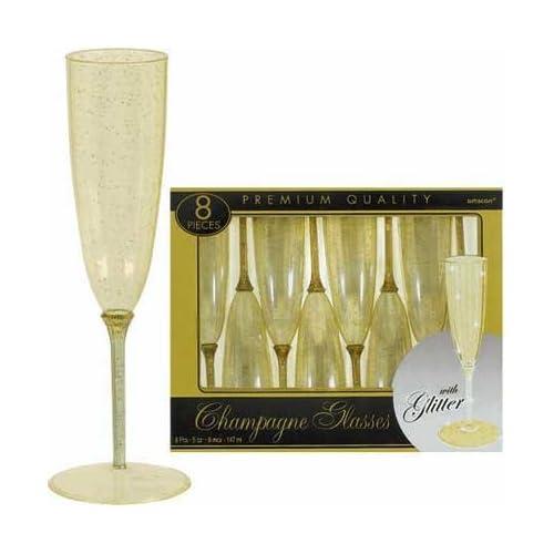 Gold Glitter Plastic 5oz Champagne Glasses 8ct