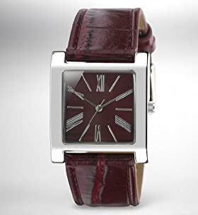 Crocodile Skin Square Face Analogue Watch