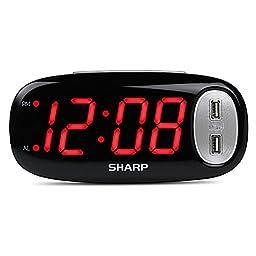 Digital Alarm Clock with 2 USB Ports