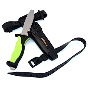 Buy Promate Scuba Dive Snorkel Titanium Knife (4 3 8 Blade) with straps and sheath by Promate