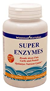 Woohoo Natural Super Enzymes Breaks down Fats, Carbs and Protein - 180 Tablets