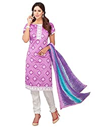 DHARM APPAREL Purple colored chanderi silk Dress Materials