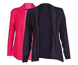 Ten on Ten Women's Pair of Pink/ Navy Blue Long Shrug