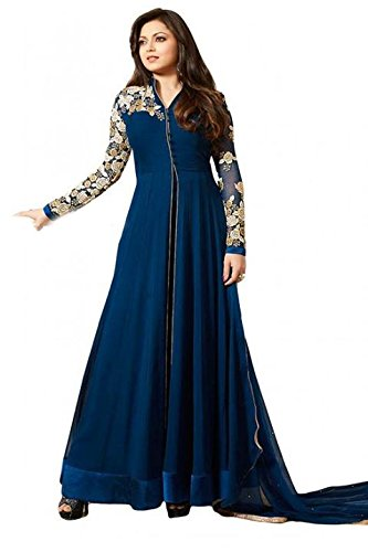 AnK Attractive Designer Emboridered Blue Color Partywear Wedding Long Anarkali Semi Stitched Salwar Suit