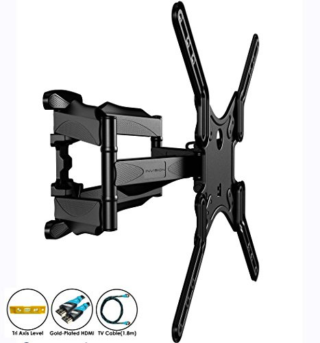 Invision® Double Arm TV Wall Bracket Mount - For 24 - 55 Inch LED LCD Plasma & Curved Screens - Tilt Swivel Feature - Includes 1080p HDMI Cable & Spirit Level *Please Confirm Your TV VESA Mounting Holes Before Purchase* (HDTV-DL)