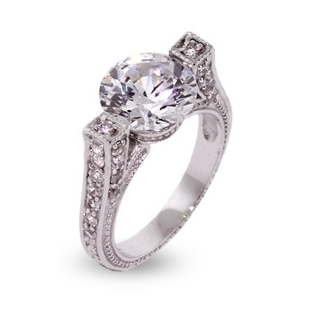 Vintage Style Brilliant Cut CZ Engagement Ring Size 7 (Sizes 6 7 Available)