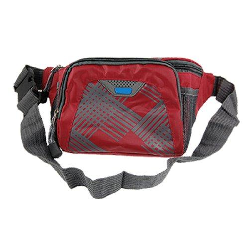 Men Adjustable Belt 5 Compartments Red Fanny Bag Pack