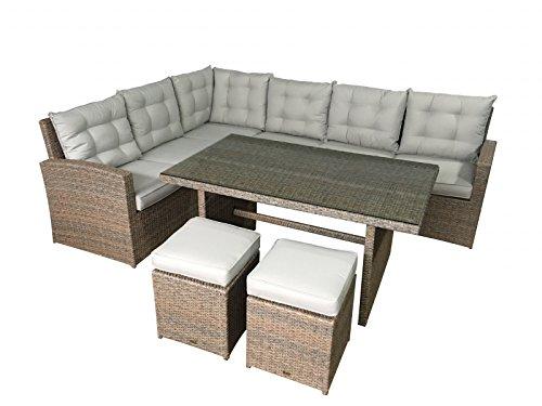 Giardino Lounge la palma in natura (seduta angolo con tavolo da pranzo) Mobili da giardino in polyrattan di jet di linea tavolo da pranzo con tavolo e sgabello