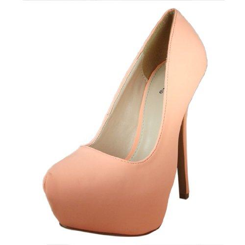 Qupid Women'S Mady01 Peach Nubuck Almond Toe Stiletto Pump 7.0 M Us