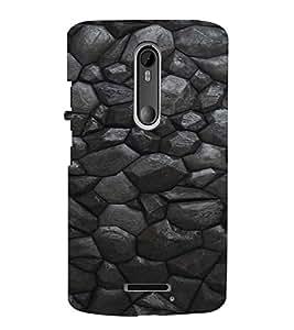 PrintVisa Charcoal Stone Pattern 3D Hard Polycarbonate Designer Back Case Cover for Motorola Moto X3