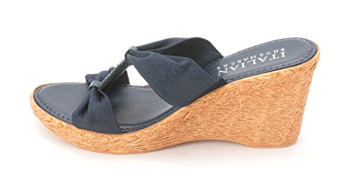 Italian Shoe Makers Vanessa Women's Wedge Slide Sandal, Blue, Size 8.5 (Italian Shoes For Women Wedge compare prices)