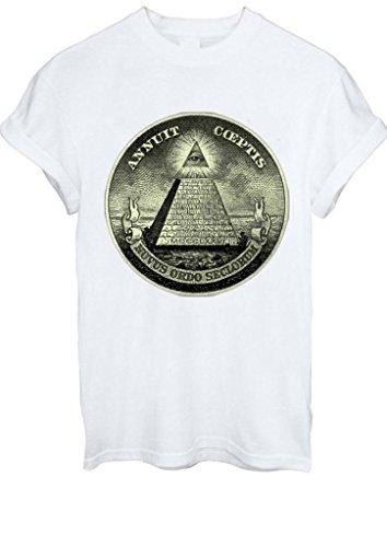Illuminati Pyramid Eye Masonic Masons Symbols Dollars Men Women Unisex T-Shirt Top -Medium