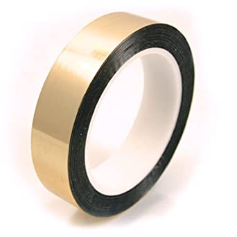 "CS Hyde Metalized Mylar Tape with Acrylic Adhesive, 2.2mm Thick, Gold Color, 0.5"" x 72 yds"