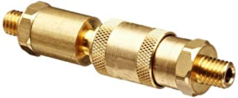 "Brass Double Shut-Off Quick Connector 10/32"" Thread, .63"" OD, 3.25""L Coupler, 1.97""L Plug with Buna-N Seal"
