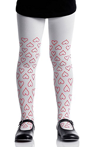 Zohara Tights Hearts Pattern Girls Tights White & Red by TrendyLegs