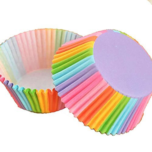 Wrisky 100Pcs Colorful Rainbow Paper Cake Cupcake Liners Baking Muffin Cup Case Party
