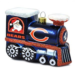 NFL Chicago Bears Blown Glass Train Ornament