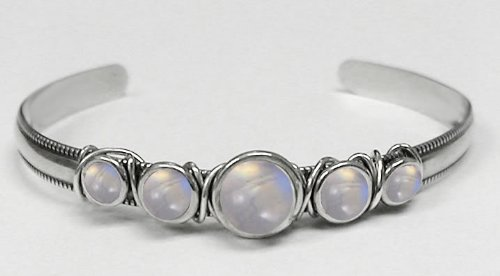 Sterling Silver Hand Made Cuff Accented with Genuine Rainbow Moonstone