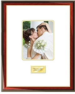 Engraved Signature Picture Frame with Round Corner 8W x 10H Portrait Photo - Premium Wood Satin Rich Mahogany with Gold Accents - Top mat White Inner mat Gold -Personalized Gold or Silver Engraved Plate - Retirement Baby Shower Signature - Overall Frame size 19W x 23H - Wedding Picture Frame Guest Book Photo Mat