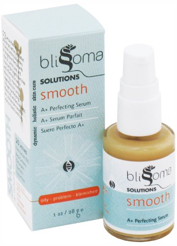 Blissoma Solutions natural skincare Smooth A+ Organic Moisture Serum for acne, eczema, psoriasis, rosacea, irritated skin types, 1 Oz, 30 ml