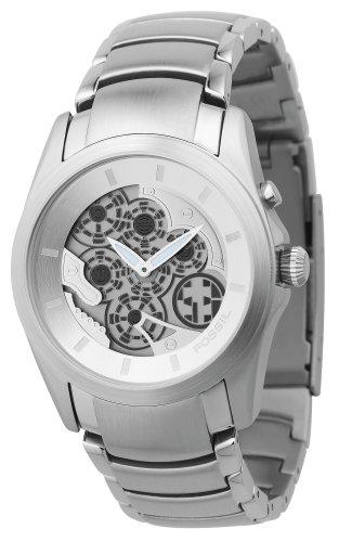 Fossil BG2097 - Reloj analógico de cuarzo para hombre con correa de acero inoxidable, color plateado