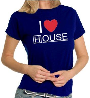 Touchlines T-shirt da donna I Love House, navy, m, TL172