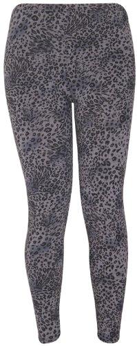 Purplehanger Women'S Printed Leggings Pants Plus Size Grey Leopard Print 12-14