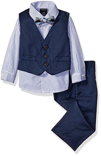 Nautica Baby Fine Tick Vest Set with Bow Tie, Navy, 3-6 Months