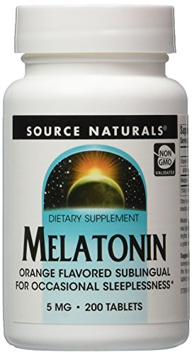 Source Naturals Melatonin, 5mg, Orange, for Occasional Sleeplessness, 200 Sublingual Tablets