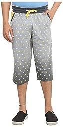 Broche Men's Cotton Capri (Broche8702-M, Grey, Medium)
