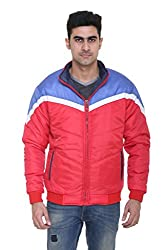 Full-Sleeves Quilted Jacket for Men by COLORS & BLENDS - Red - M size