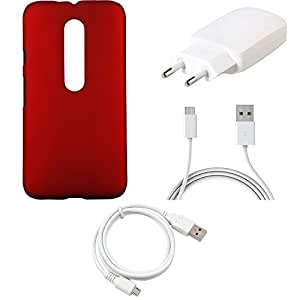 NIROSHA Cover Case Charger USB Cable for Motorola G3 - Combo