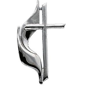 14K White Gold Methodist Cross Pin -- LIFETIME WARRANTY