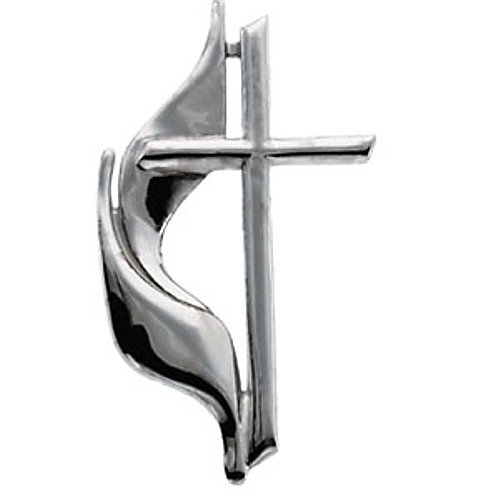 14K White Gold Methodist Cross Pin