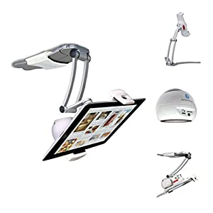 """CTA Digital 2-in-1 Kitchen Mount Stand with Bluetooth Speaker for 7-12"""" Tablets (PAD-BKMS)"""