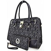 WK Collection 2-Piece Handbag & Purse Set (Black)