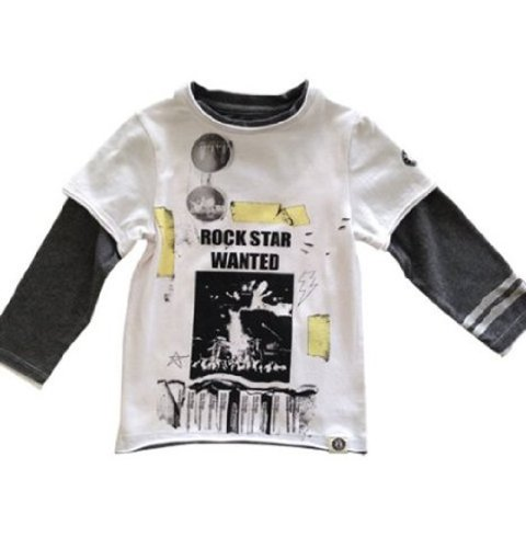Mini Shatsu Boys Rock Star Wanted Tee Shirt - 4T - White front-606863
