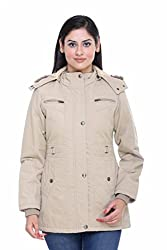 Trufit Full Sleeves Solid Women's Fawn Medium Length Removable Hood Cotton Parka Jacket