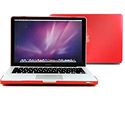 GMYLE (TM) Red Rubberized-see-through Hard Case Skin Cover for Aluminum Unibody 13 Inches Macbook Pro