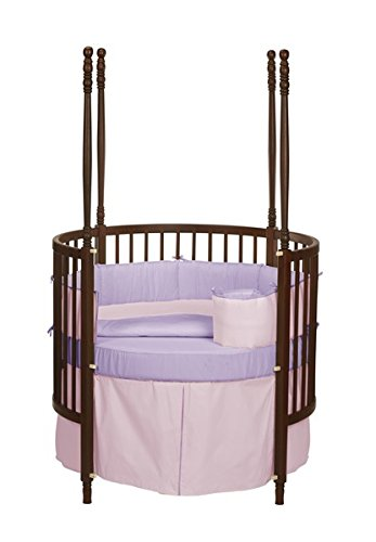 Baby Doll Solid Reversible Round Crib Bedding Set, Pink/Lavender