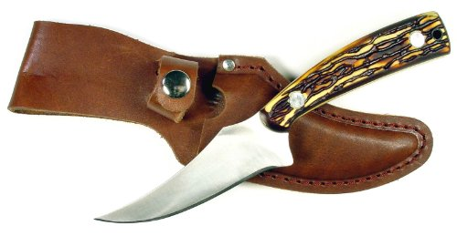 RUKO 3-1/4-Inch Blade Skinning Knife with Delrin Deer Horn Handle and Leather Sheath