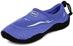 Enimay Women\'s Slip On Drawstring Beach Summer Vacation Water Sport Aqua Shoe Blue Size 6
