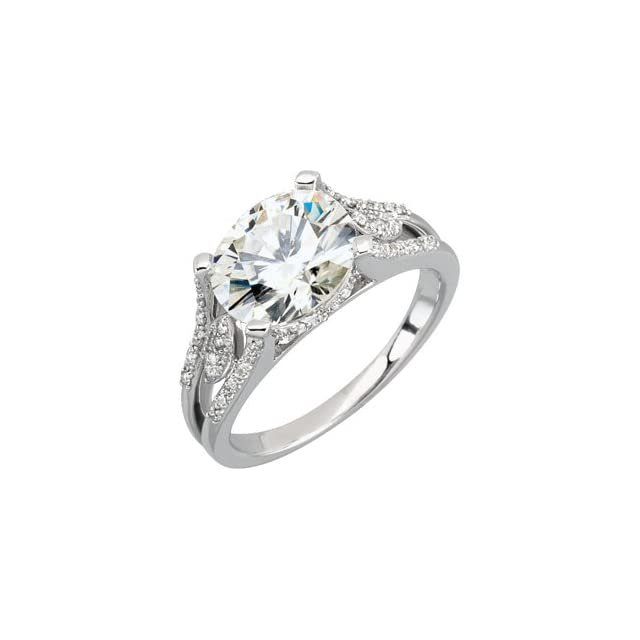 Ann Harrington Jewelry 14k White Gold 3 Ct (10x8 Mm) Oval Charles & Covard Created Moissanite And 1/5 Ct Tw Diamond Antique Style Split shank Ring