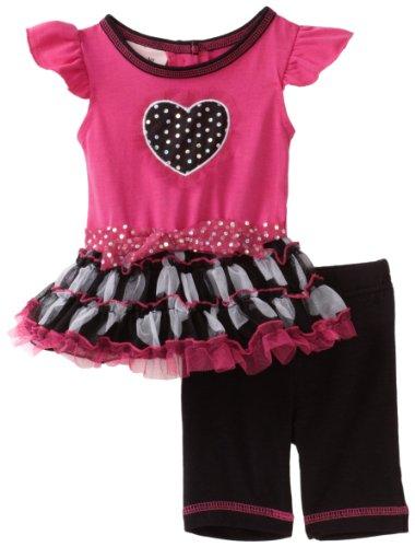Little Lass Baby-girls Newborn 2 Piece Tutu Heart Dress Set, Multi, 6/9 Months