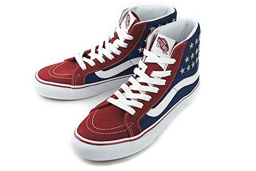 【新入荷】VANS ヴァンズ  バンズSK8-HI SLIMスケートハイ スリム(STUDDED STARS)RED/BLUE(スタッズドスターズ/レッド/ブルー)シューズ 靴 ハイカット メンズ レディース スニーカー 星条旗  即納,WOMEN-US7(約23.5cm)