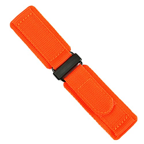 22mm Orange Double Layer Nylon Velcro Watch band with Carbon Buckle MEDIUM