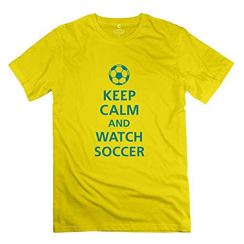 Yongth Men'S Keep Calm Watch Soccer 100% Cotton T-Shirt - Fans Tee Yellow Us Size Xxl