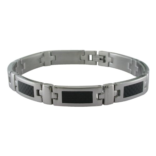 Men's Stainless Steel Carbon Fiber Link Bracelet, 9