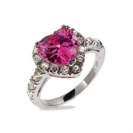 Sparkling Pink CZ Sterling Silver Heart Ring Size 7 (Sizes 5 6 7 8 9 Available)