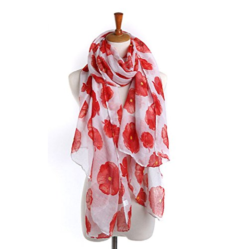 Superhappy Fashion Poppies Printing Cotton Voile Scarf Large Beach Shawl Scarves (White)